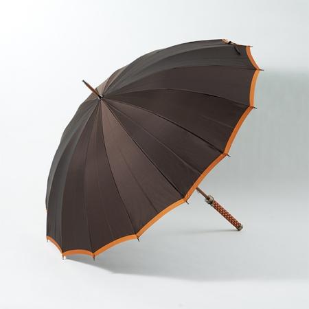 Umbrella – TOKYO UMBRAID, KUMIHIMO, orange, modern, hexagonal pattern, Ryukobo, Tokyo Japan, traditional handmade crafts, souvenir, gift, order-made