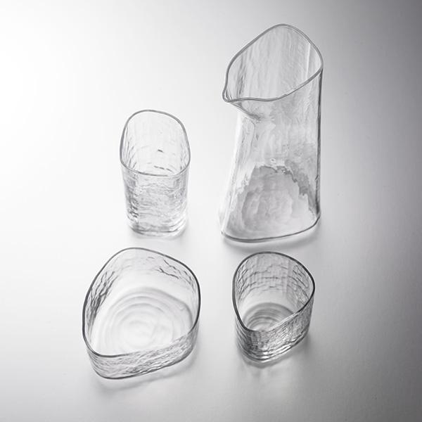 Foison Sake Glass Set - art object, asymmetric, 4 piece set, tokkuri, sake cup, family, Kimoto Glass, sake, traditional craft, souvenir, gift